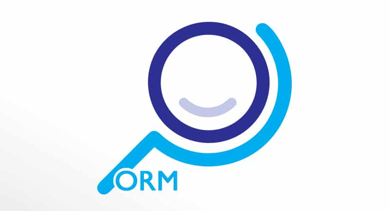 blue online performance logo with orm